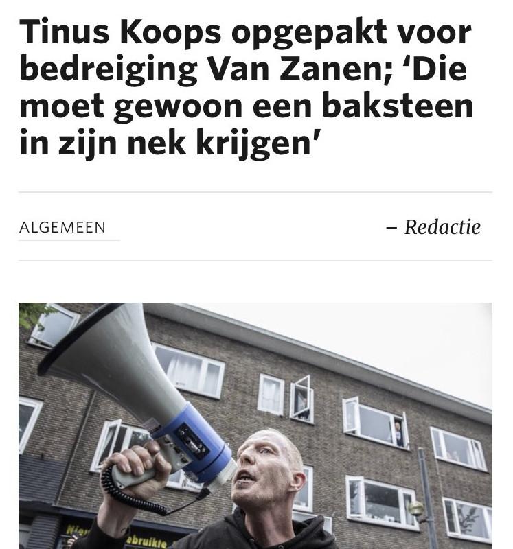 Tinus Koops bedreigt twitteraars